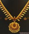 NCKN397 - Semi Precious Ruby Dollar With Trendy Leaf Design Kerala Necklace