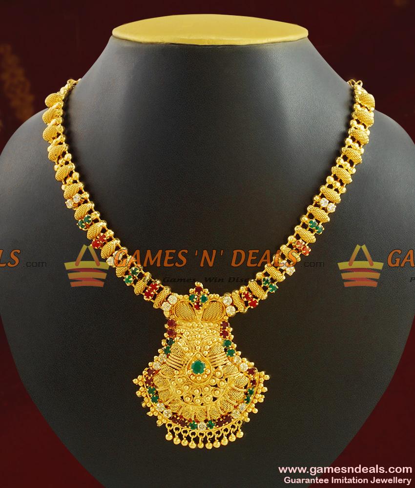 Grand Kerala Necklace Design Ruby Stone Handcrafted Jewelry NCKN410